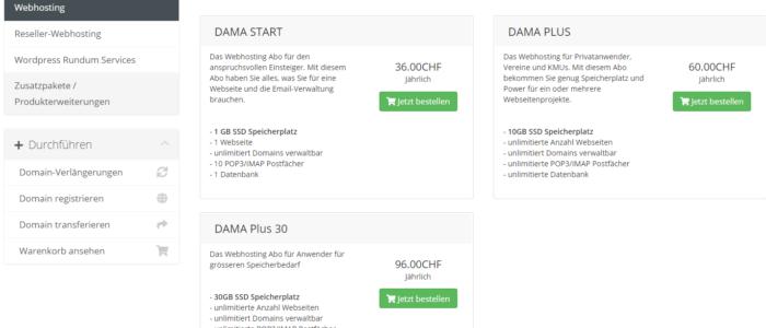 Wählen Sie Ihr Damanet Webhostingpaket aus