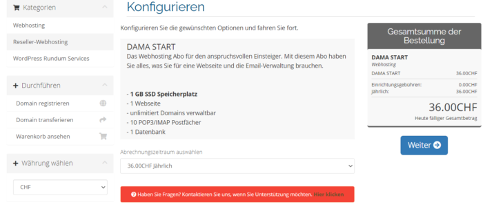 Bild des Bestellprozesses - Hostingpaket konfigurieren