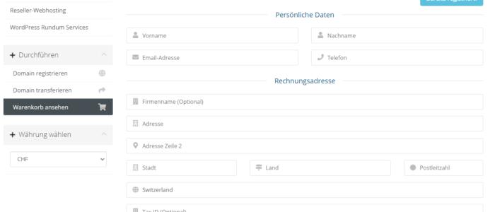 Bestellprozess Bild der Kassenseite zum ausfüllen der persönlichen Daten.