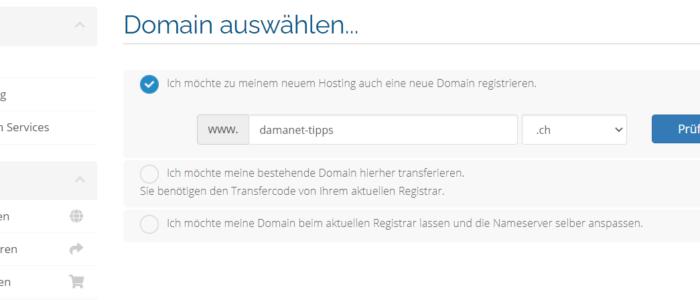 Neue Domain bestellen