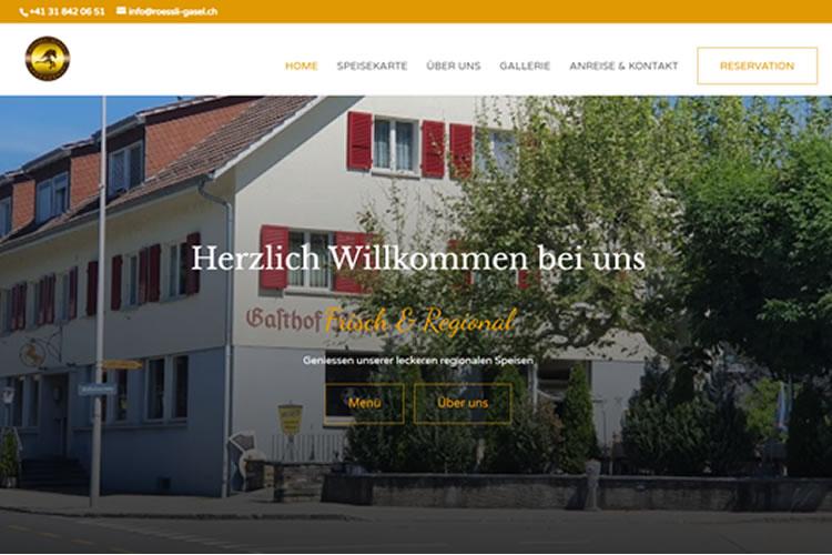 Bild der Startseite vom Restaurant Rössli in Gasel