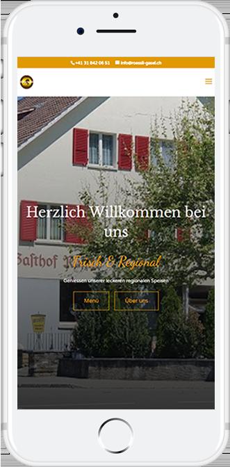 Webseite Rössli Gassel Mobile Ansicht